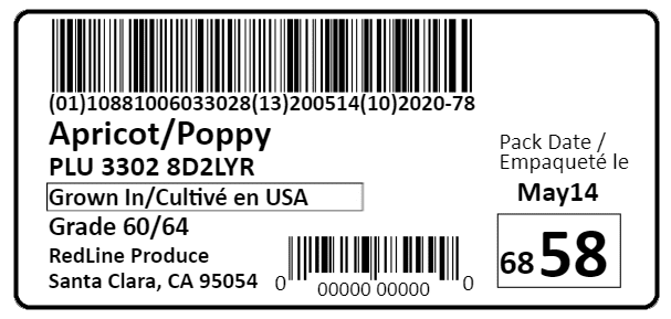 PTI Harmonized Traceability Case Label