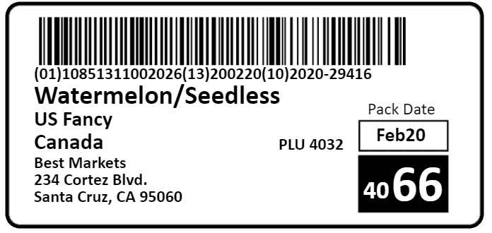 MyProduce Case Label